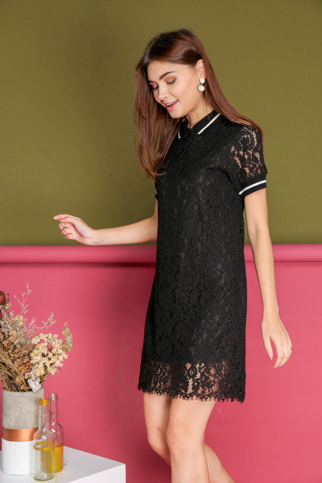 Josephine Lace Polo Dress in Black