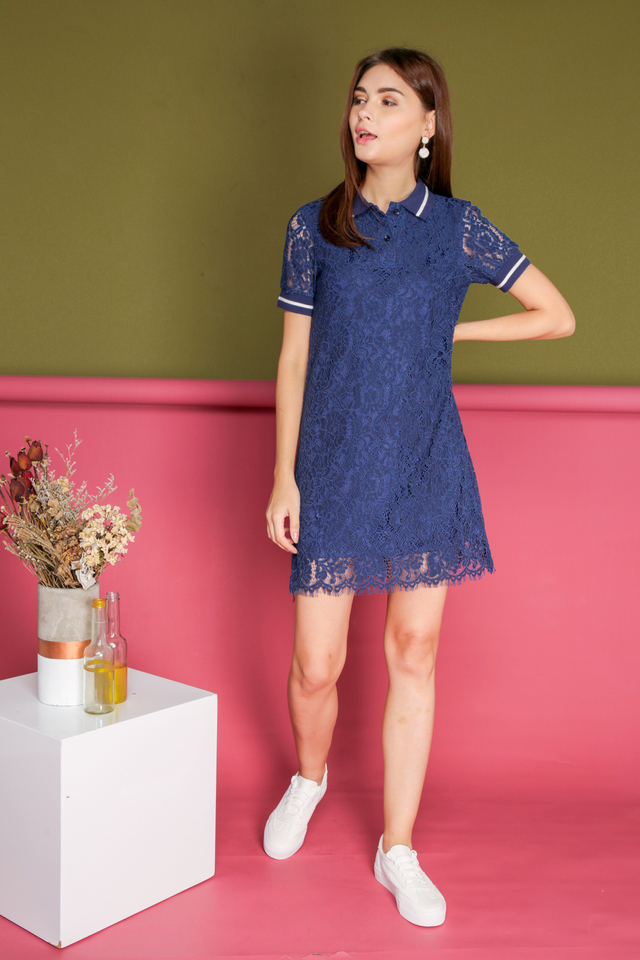 Josephine Lace Polo Dress in Navy