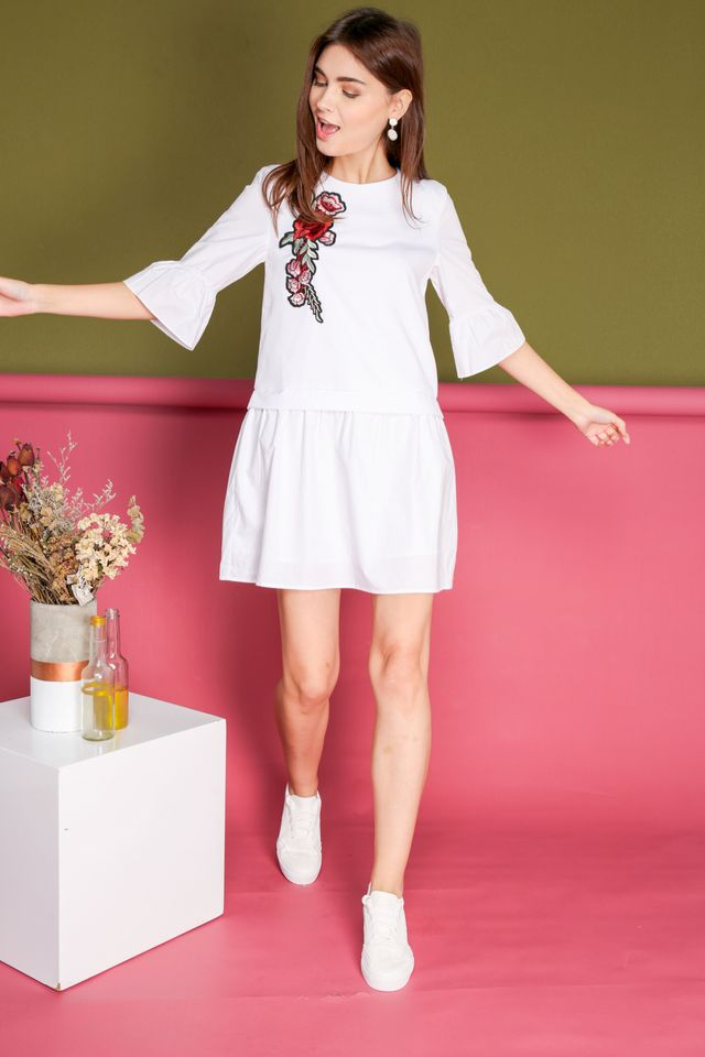 Shauna Rose Patch Faux Layered Dress in White (XS)