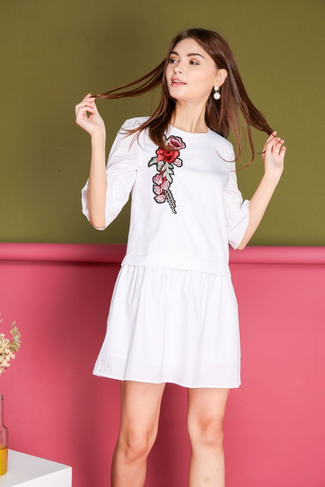 Shauna Rose Patch Faux Layered Dress in White