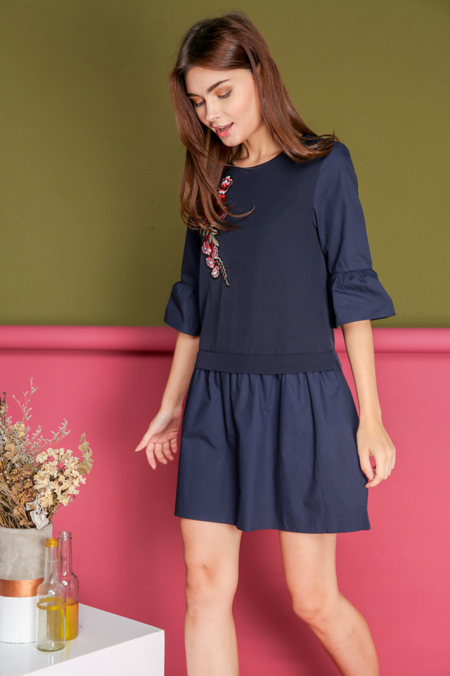 Shauna Rose Patch Faux Layered Dress in Navy