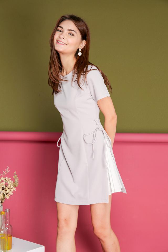 *BACKORDER* Hilda Side Pleats Dress in Grey