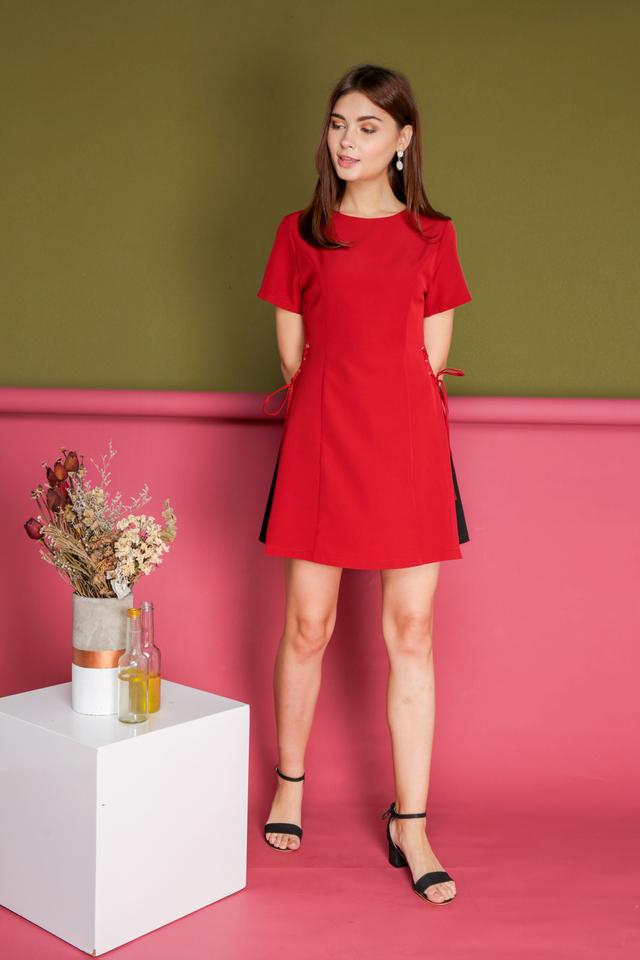 Hilda Side Pleats Dress in Red