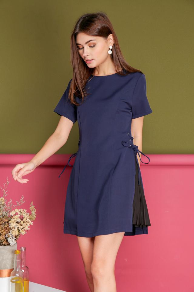*BACKORDER* Hilda Side Pleats Dress in Navy