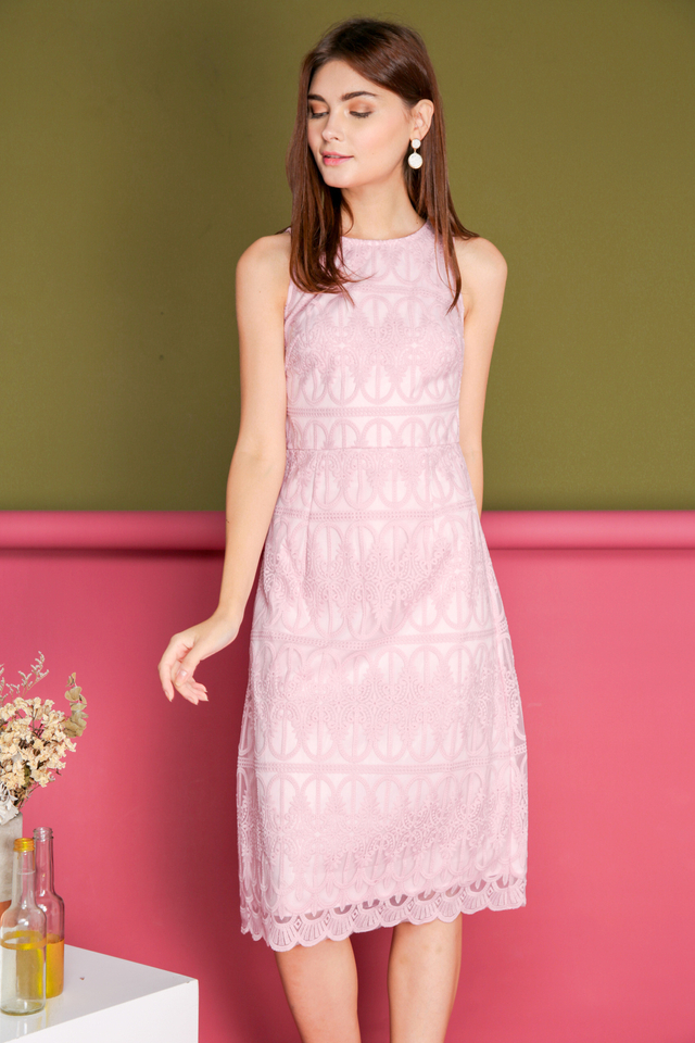 Gillian Organza Midi Dress in Pink