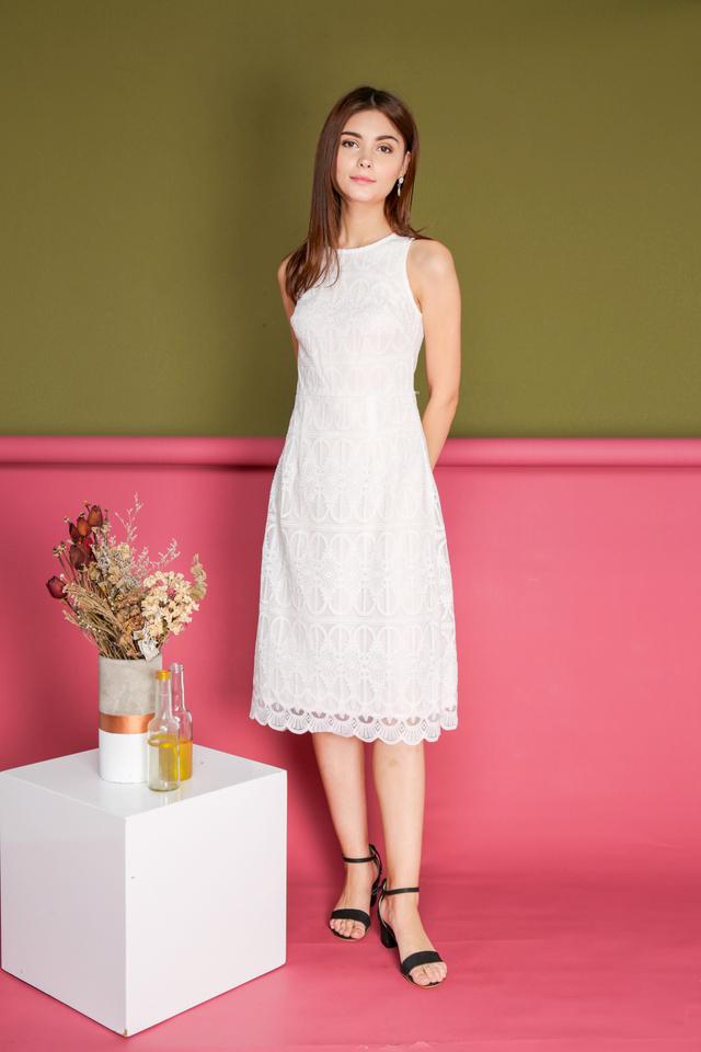 Gillian Organza Midi Dress in White