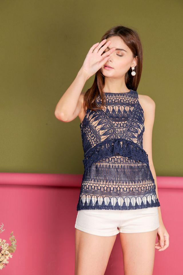 Hanna Crochet Teardrop Peplum Top in Navy (XS)