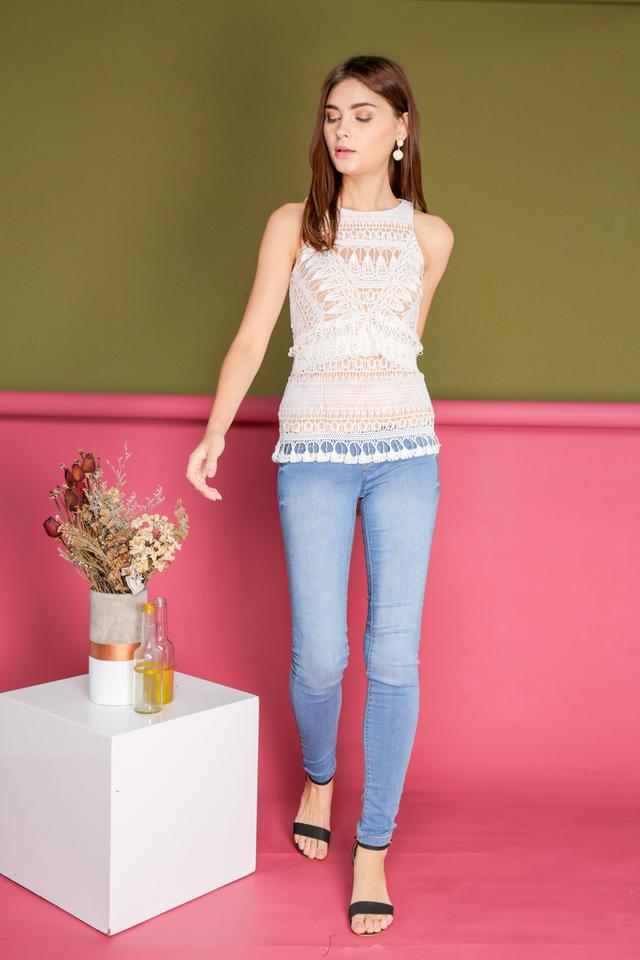 Hanna Crochet Teardrop Peplum Top in White
