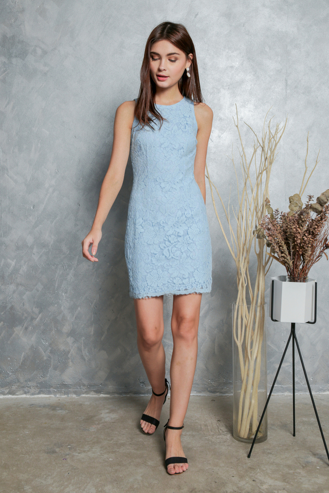 Mavis Floral Lace Dress in Powder Blue