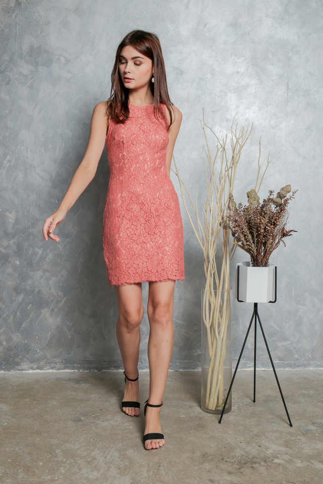 Mavis Floral Lace Dress in Terracotta