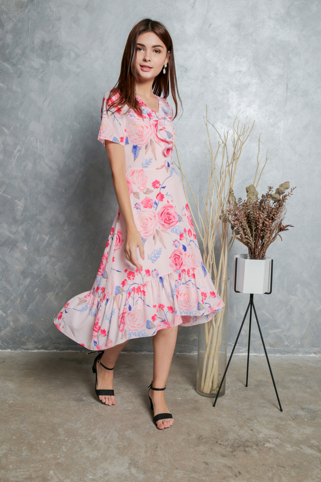 Madeline Printed Ruffled Midi Dress in Pink