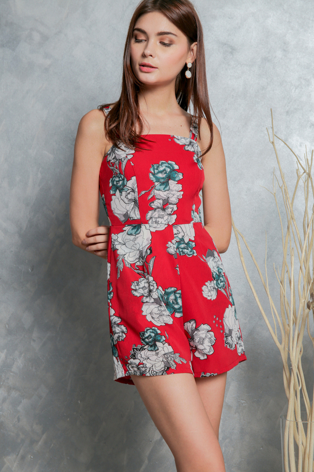Melvina Rose Printed Romper in Red (L)