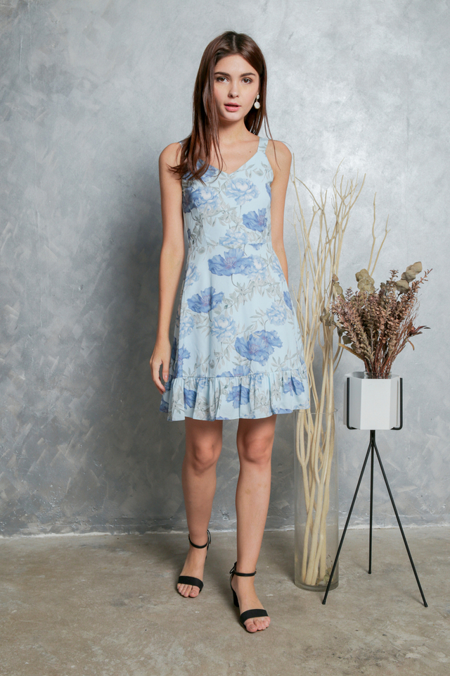 Milicent Floral Dropwaist Dress in Baby Blue (L)