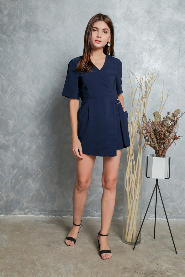 Genelle D Ring Overlap Romper in Navy