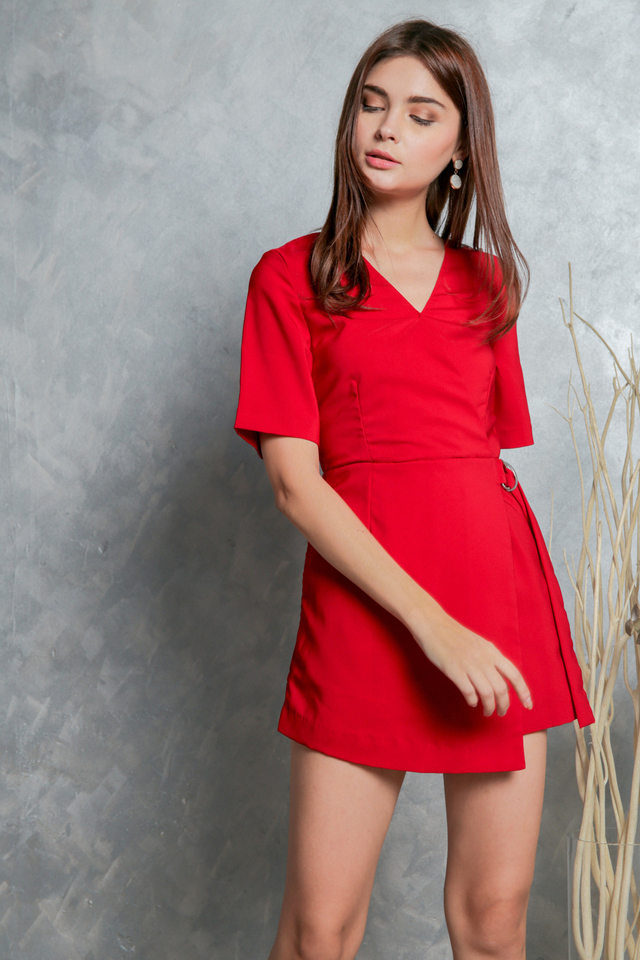Genelle D Ring Overlap Romper in Red