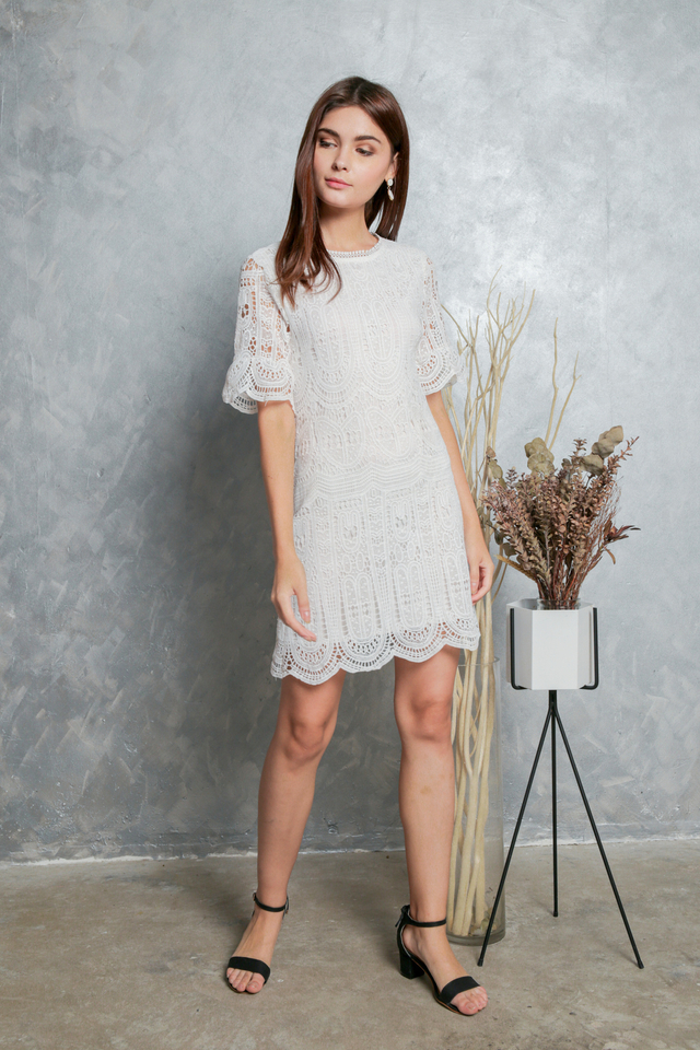 Megan Crochet Shift Dress in White