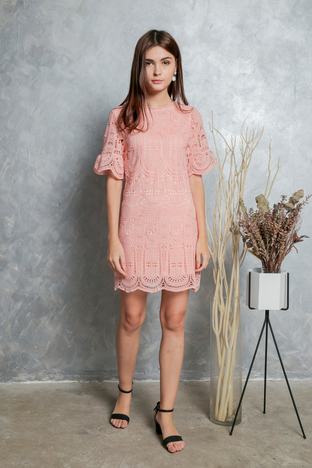 Megan Crochet Shift Dress in Peach (XS)