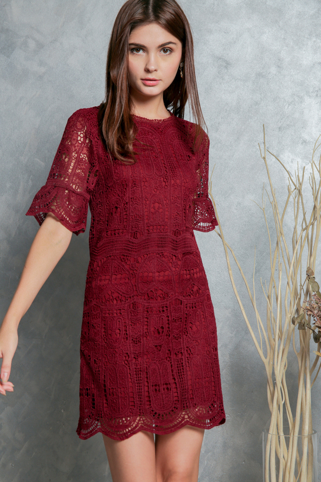 Megan Crochet Shift Dress in Maroon