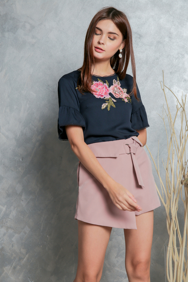 Ophelia Rose Embroidery Top in Navy