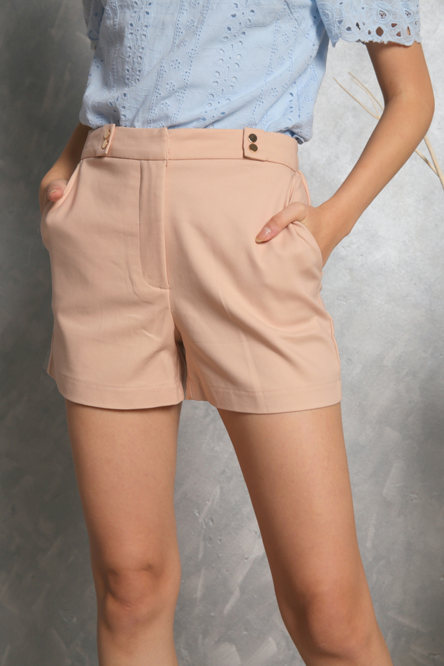 Fania Gold Button Shorts in Nude
