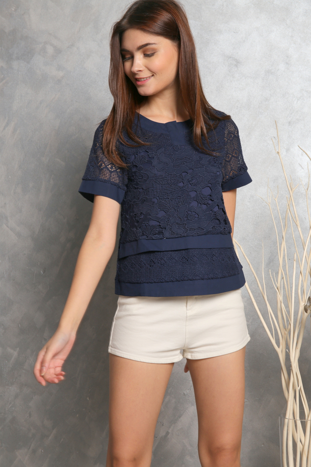 Elda Crochet Tiered Sleeve Top in Navy