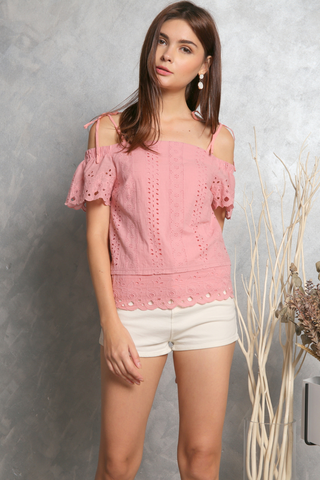 Rowena Tie Ribbon Eyelet Top in Pink