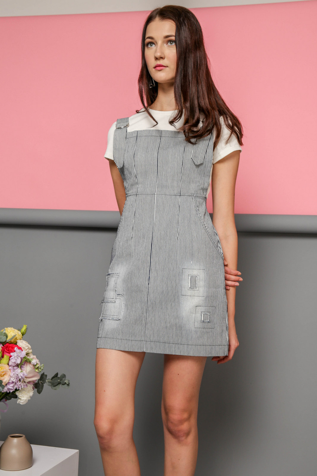Paislee Two-Piece Pinstriped Pinafore in Black