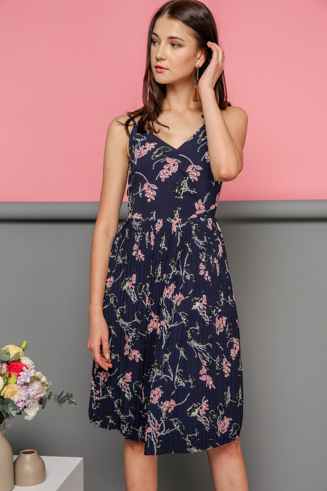 Embry Summer Pleated Midi Dress in Navy
