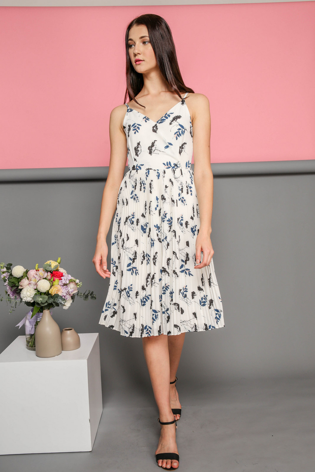 Embry Summer Pleated Midi Dress in White