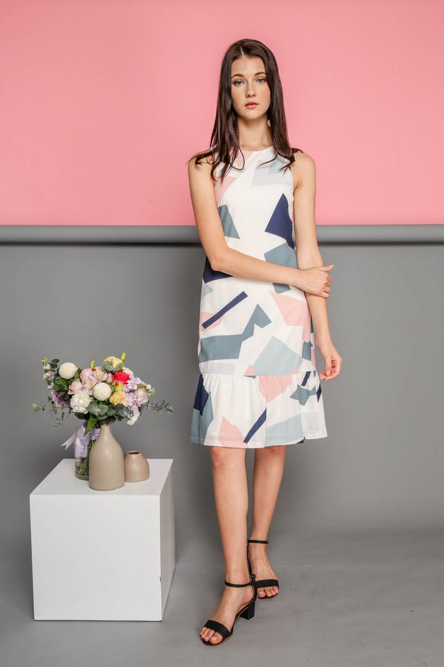 Jaelyn Printed Dropwaist Midi Dress in Geometric
