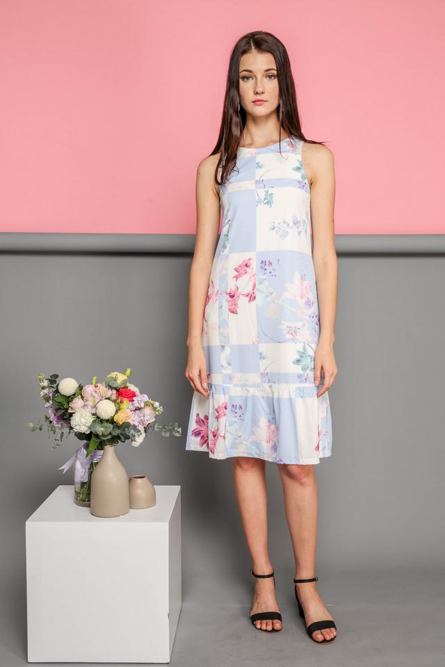 Jaelyn Printed Dropwaist Midi Dress in Florals