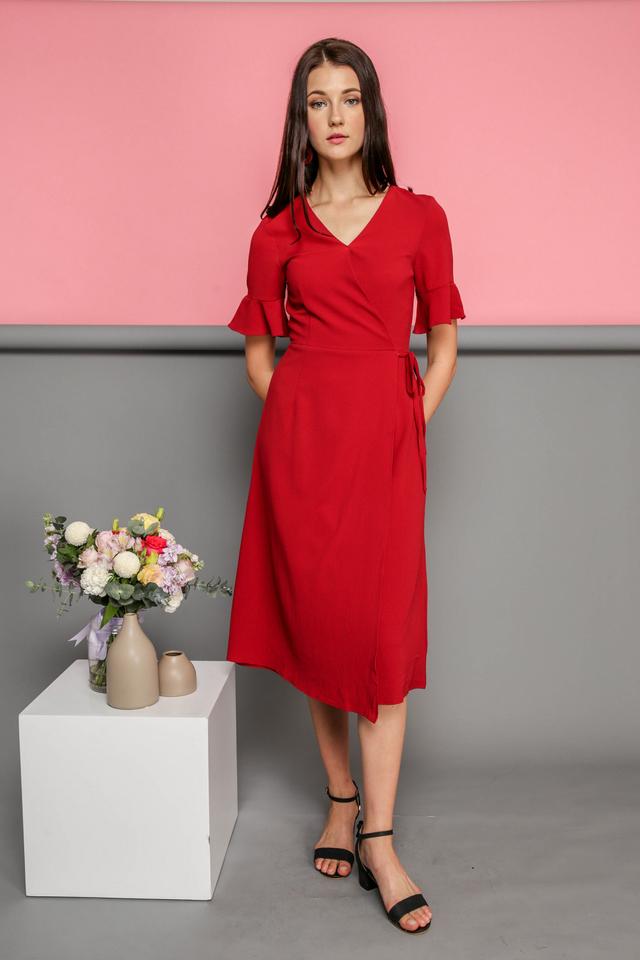 Leona Faux Wrap Midi Dress in Red