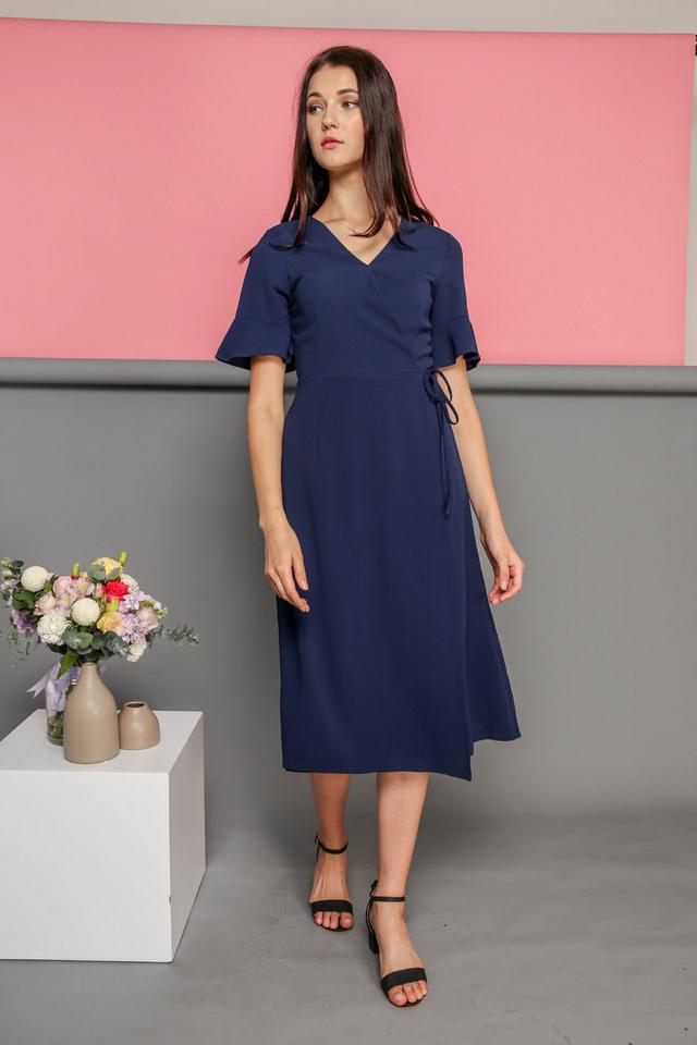 Leona Faux Wrap Midi Dress in Navy