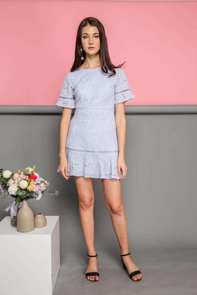 Maren Floral Lace Dropwaist Dress in Powder Blue