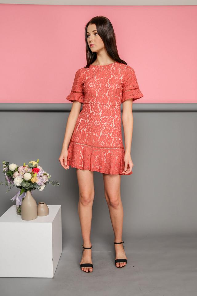 Maren Floral Lace Dropwaist Dress in Terracotta
