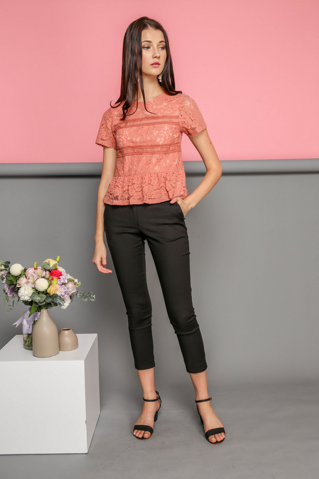 Calla Lace Textured Top in Terracotta