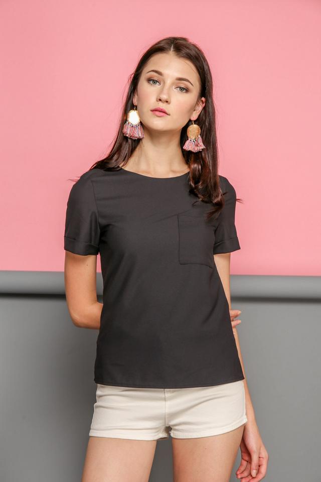 Danica Basic Front Pocket Top in Black