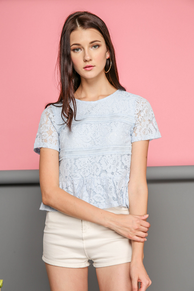Calla Lace Textured Top in Powder Blue