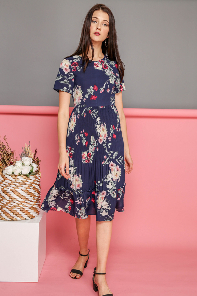 Sybil Floral Pleated Midi Dress in Navy