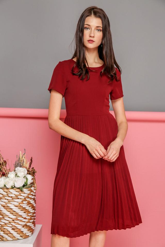 Kate Pleated Midi Dress in Wine Red