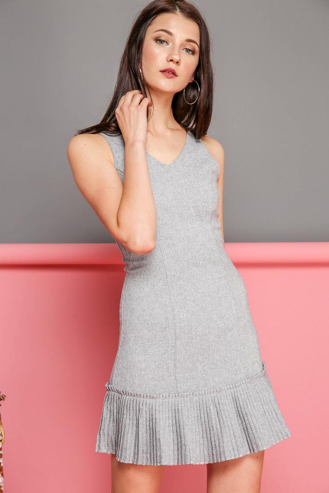 Florence Tweed Pleated Hem Dress in Grey