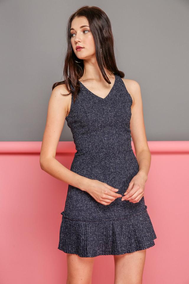 Florence Tweed Pleated Hem Dress in Navy
