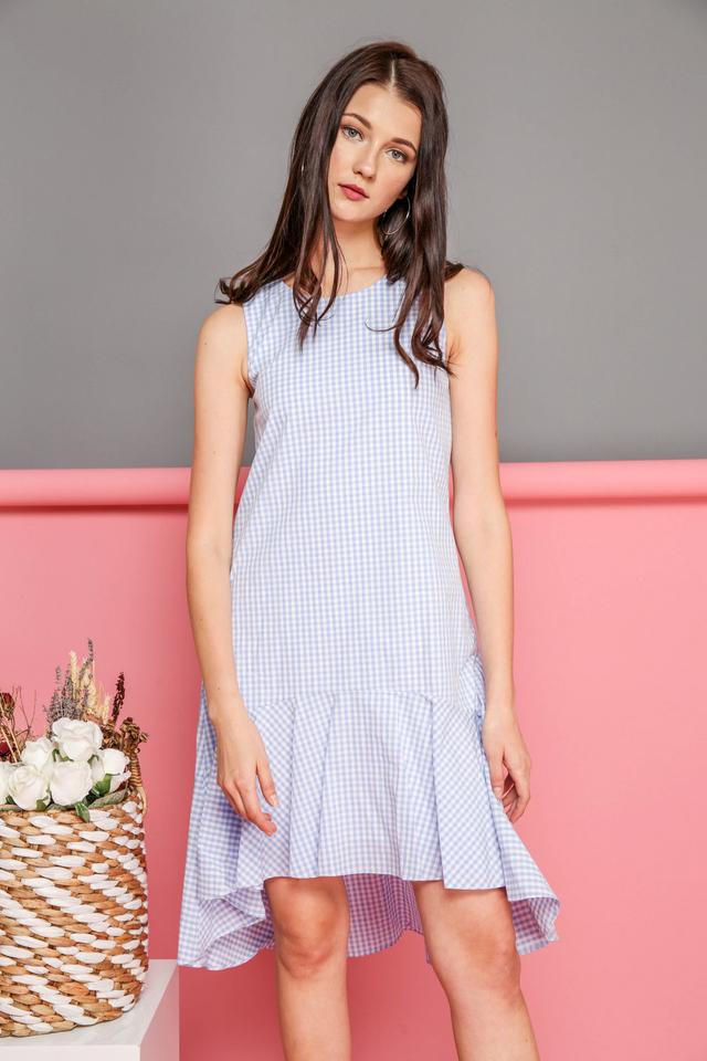 Freya Gingham Ruffled Hem Dress in Blue (L)