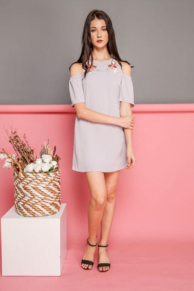 Elsie Floral Patch Cold Shoulder Dress in Grey (S)