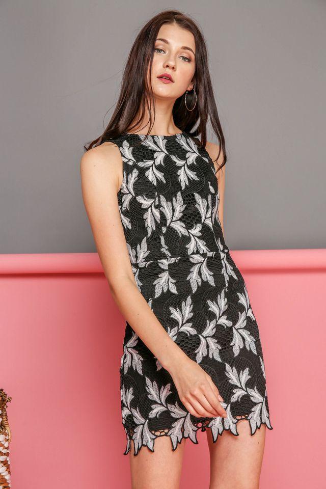 Evelyn Crochet Leaf Dress in Black (XS)