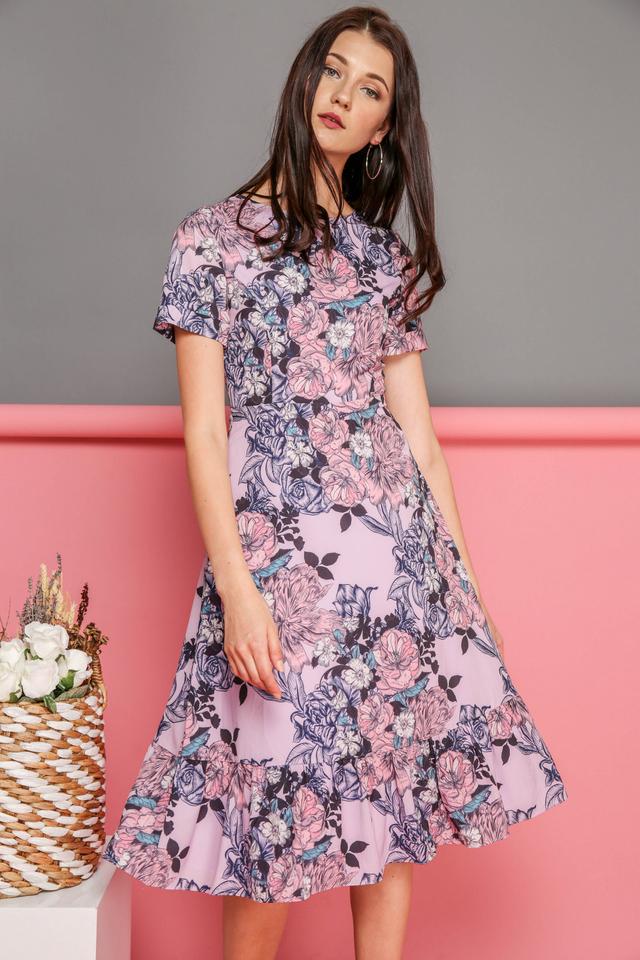Eliana Printed Midi Dress in Pink Florals (XS)
