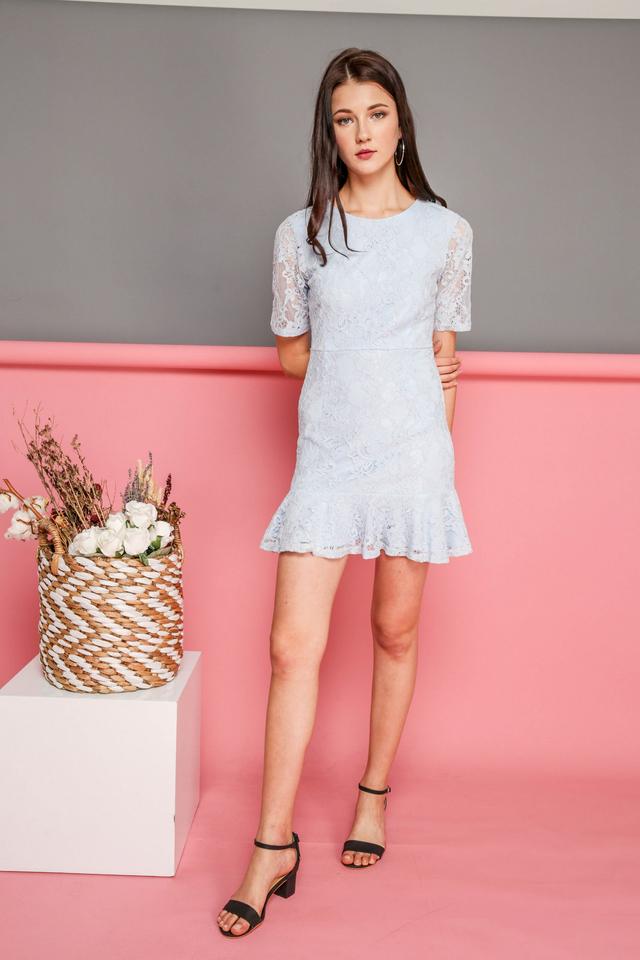 Brielle Lace Dropwaist Dress in Powder Blue