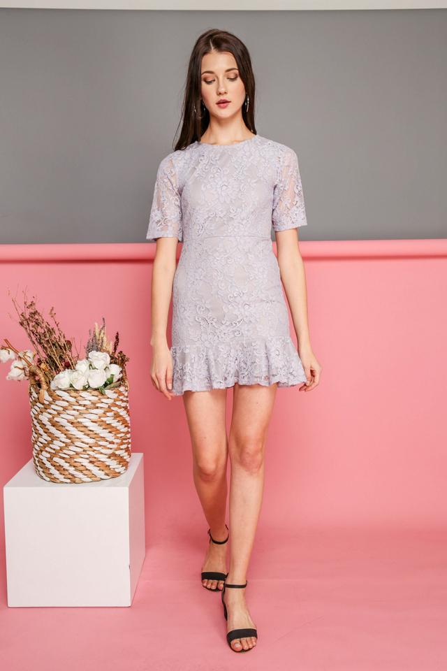 Brielle Lace Dropwaist Dress in Lilac Grey