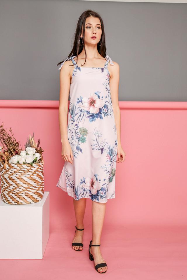 Alina Tie Ribbon Floral Dress in Blush Pink