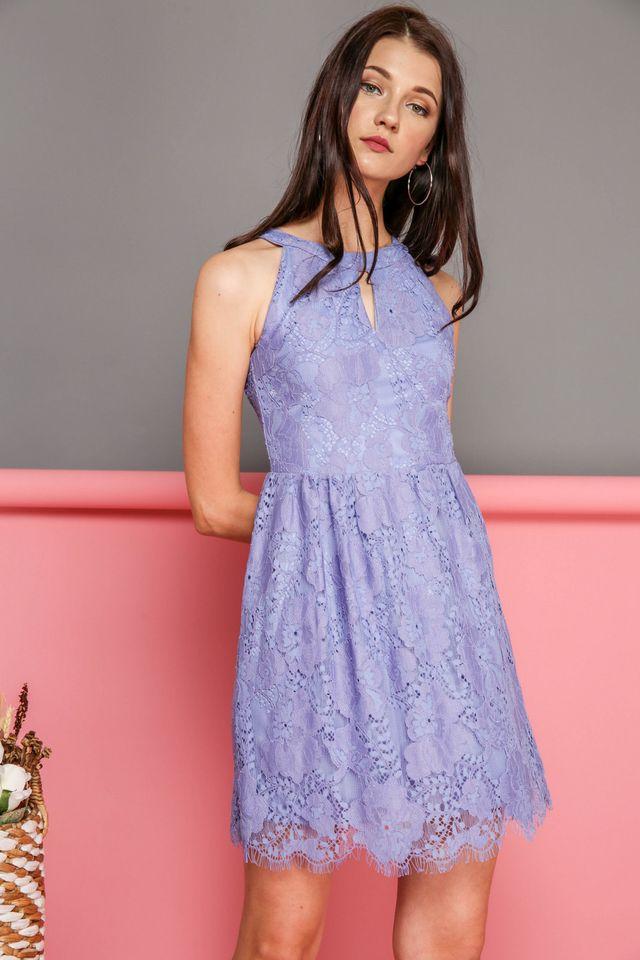 Adeline Keyhole Lace Dress in Periwinkle (XS)